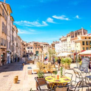 Aix-en-Provence, France - Cardeurs square with cafes and restaurants in the old town of Aix-en-Prove